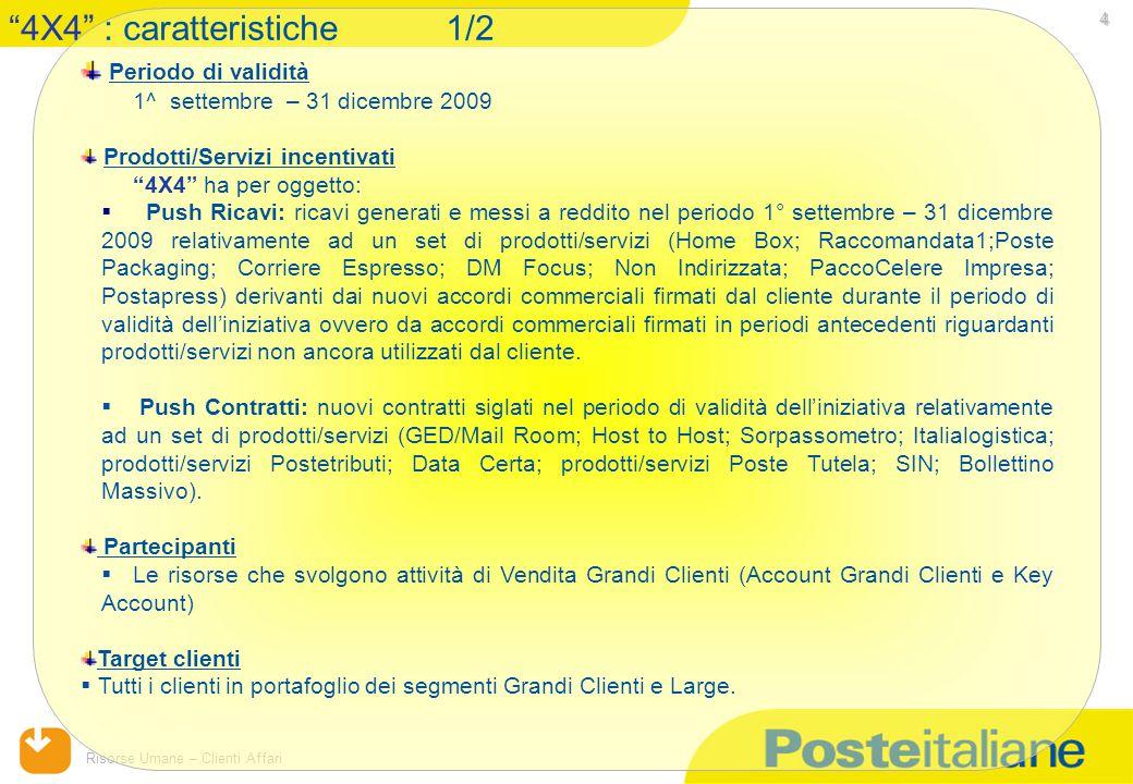 """15/04/2015 Risorse Umane – Clienti Affari 4 Periodo di validità 1^ settembre – 31 dicembre 2009 Prodotti/Servizi incentivati """"4X4"""" ha per oggetto:  P"""