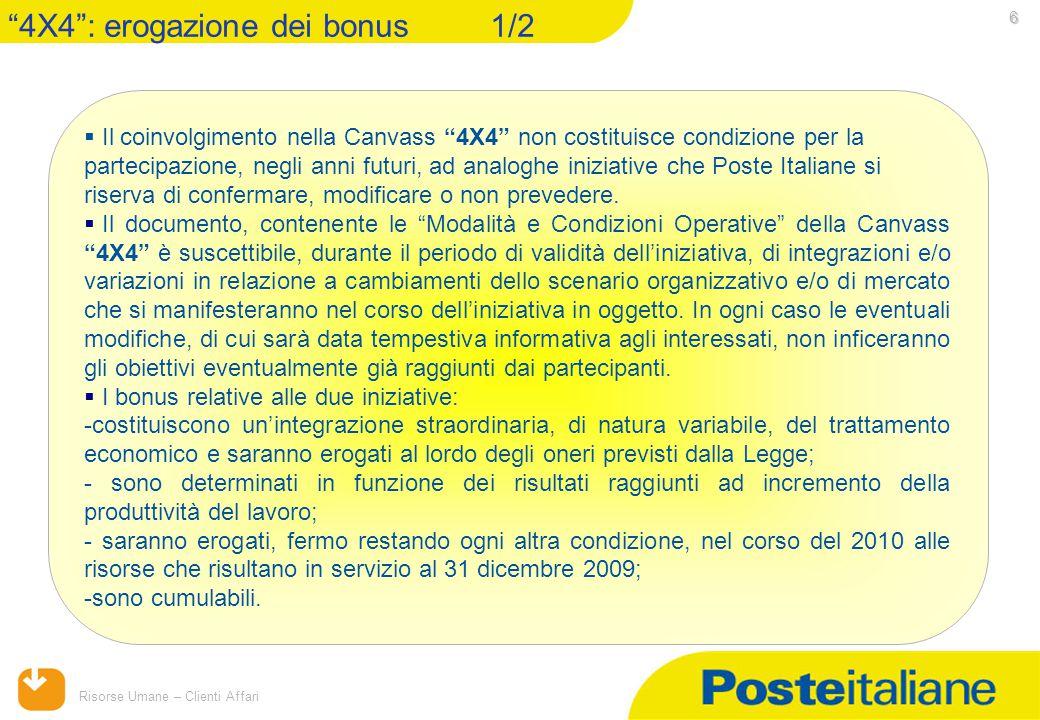 15/04/2015 Risorse Umane – Clienti Affari 6  Il coinvolgimento nella Canvass 4X4 non costituisce condizione per la partecipazione, negli anni futuri, ad analoghe iniziative che Poste Italiane si riserva di confermare, modificare o non prevedere.