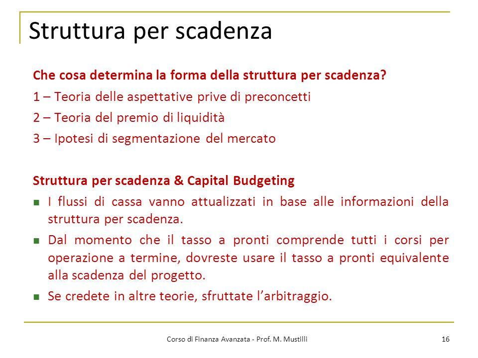 Struttura per scadenza 16 Corso di Finanza Avanzata - Prof. M. Mustilli Che cosa determina la forma della struttura per scadenza? 1 – Teoria delle asp