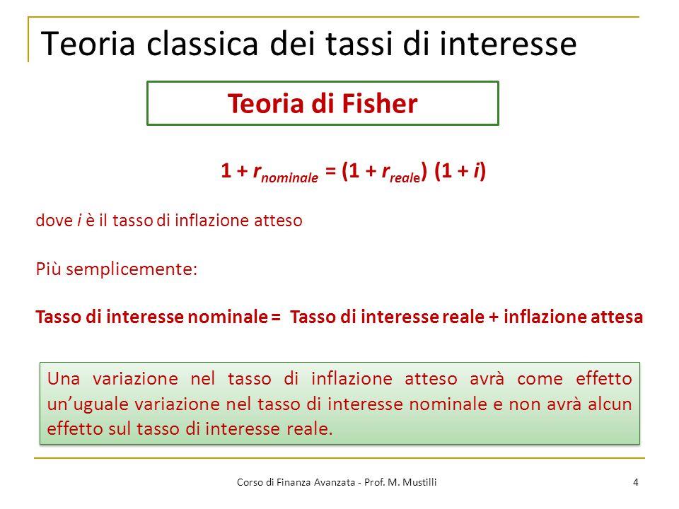 Teoria classica dei tassi di interesse 4 Corso di Finanza Avanzata - Prof. M. Mustilli Teoria di Fisher Una variazione nel tasso di inflazione atteso