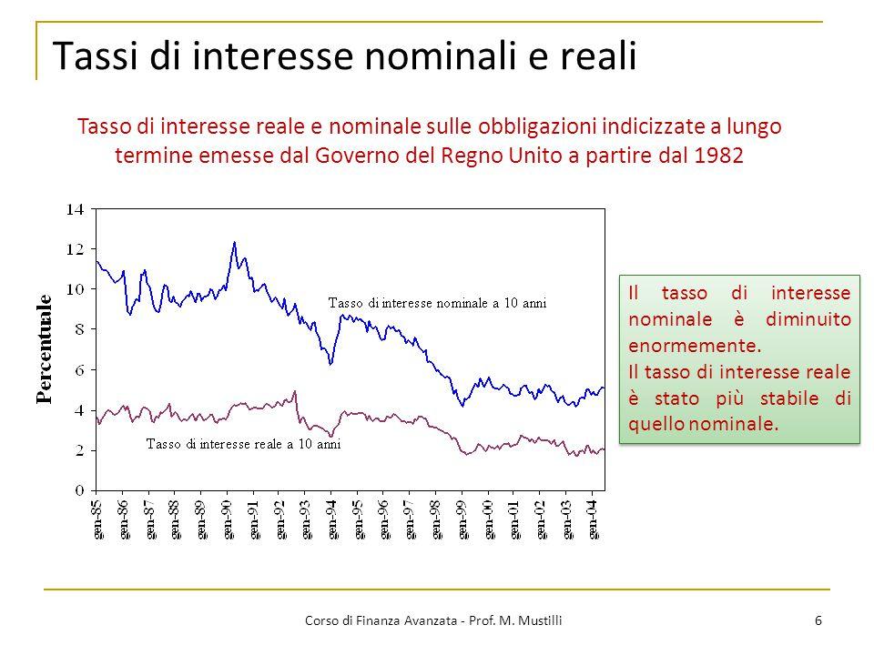 6 Corso di Finanza Avanzata - Prof. M. Mustilli Tassi di interesse nominali e reali Tasso di interesse reale e nominale sulle obbligazioni indicizzate