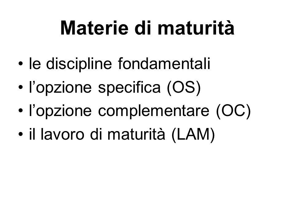 Materie di maturità le discipline fondamentali l'opzione specifica (OS) l'opzione complementare (OC) il lavoro di maturità (LAM)