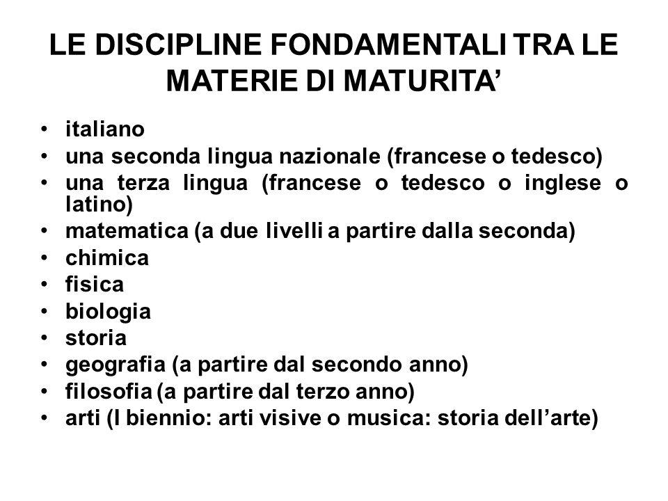 LE DISCIPLINE FONDAMENTALI TRA LE MATERIE DI MATURITA' italiano una seconda lingua nazionale (francese o tedesco) una terza lingua (francese o tedesco