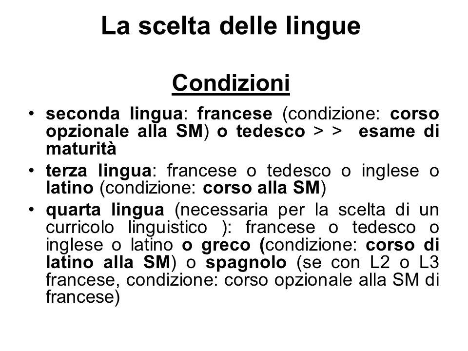 La scelta delle lingue Condizioni seconda lingua: francese (condizione: corso opzionale alla SM) o tedesco > > esame di maturità terza lingua: frances