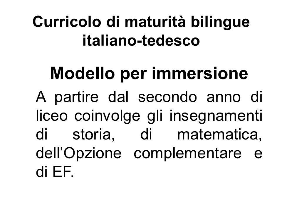 Curricolo di maturità bilingue italiano-tedesco Modello per immersione A partire dal secondo anno di liceo coinvolge gli insegnamenti di storia, di matematica, dell'Opzione complementare e di EF.