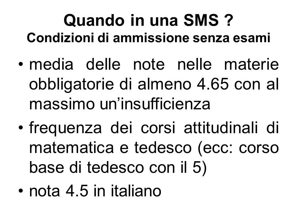 Quando in una SMS ? Condizioni di ammissione senza esami media delle note nelle materie obbligatorie di almeno 4.65 con al massimo un'insufficienza fr