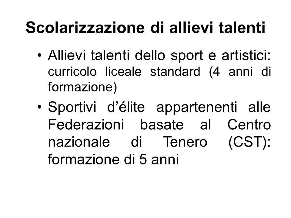 Scolarizzazione di allievi talenti Allievi talenti dello sport e artistici: curricolo liceale standard (4 anni di formazione) Sportivi d'élite apparte