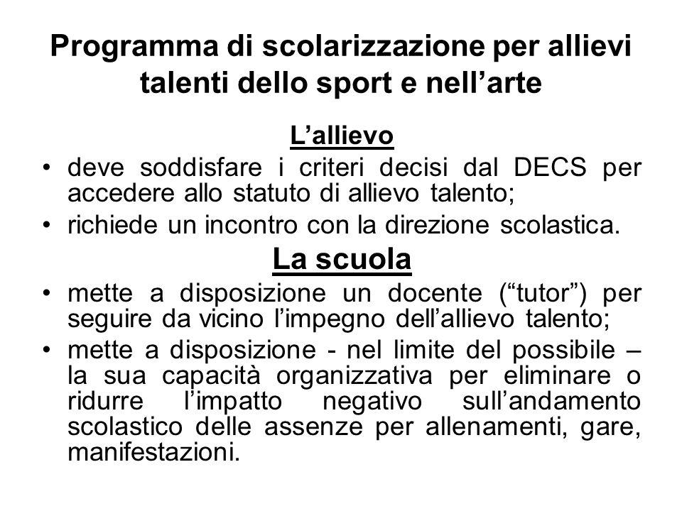 Programma di scolarizzazione per allievi talenti dello sport e nell'arte L'allievo deve soddisfare i criteri decisi dal DECS per accedere allo statuto di allievo talento; richiede un incontro con la direzione scolastica.