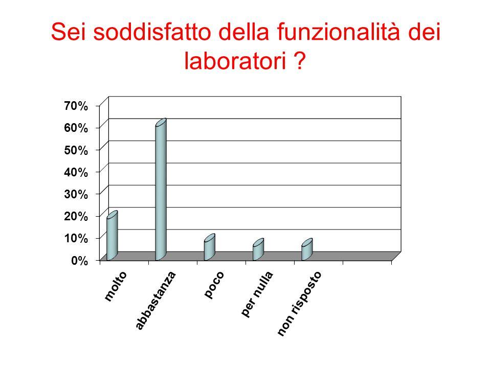 Sei soddisfatto della funzionalità dei laboratori