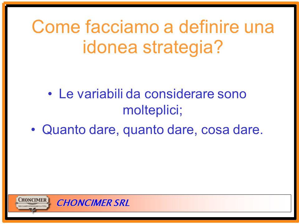 ITALIA CHONCIMER SRL Le variabili da considerare sono molteplici; Quanto dare, quanto dare, cosa dare. Come facciamo a definire una idonea strategia?