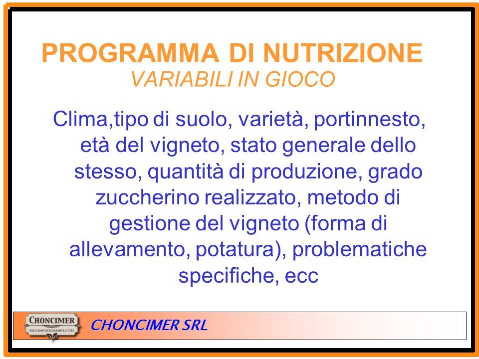 ITALIA CHONCIMER SRL Clima,tipo di suolo, varietà, portinnesto, età del vigneto, stato generale dello stesso, quantità di produzione, grado zuccherino