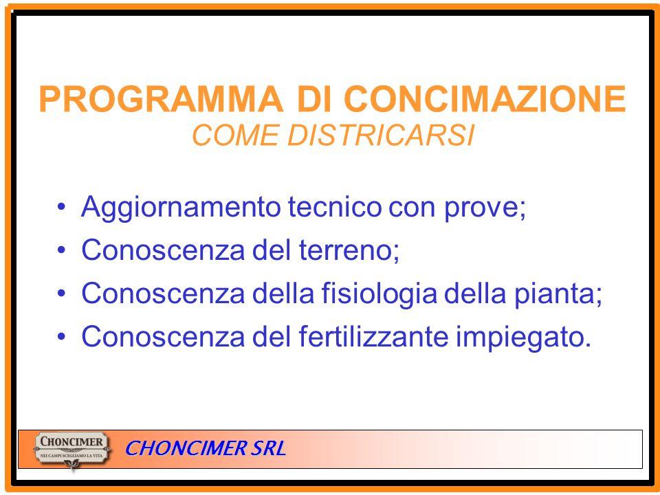 ITALIA CHONCIMER SRL Aggiornamento tecnico con prove; Conoscenza del terreno; Conoscenza della fisiologia della pianta; Conoscenza del fertilizzante i