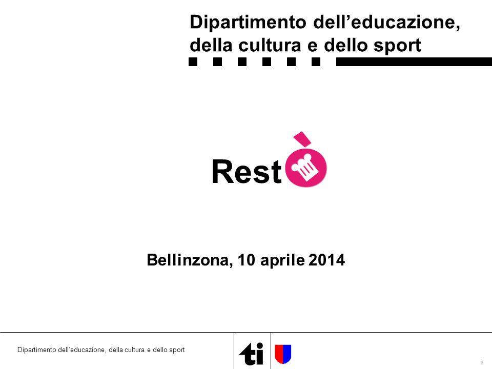 1 Dipartimento dell'educazione, della cultura e dello sport Rest Bellinzona, 10 aprile 2014 Dipartimento dell'educazione, della cultura e dello sport
