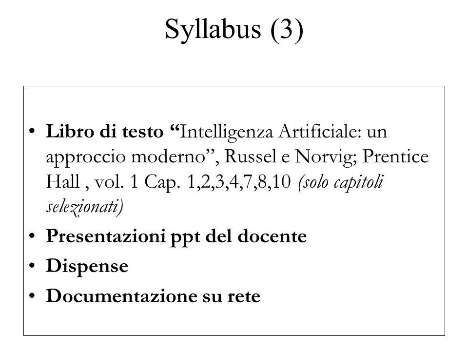 Syllabus (3) Libro di testo Intelligenza Artificiale: un approccio moderno , Russel e Norvig; Prentice Hall, vol.