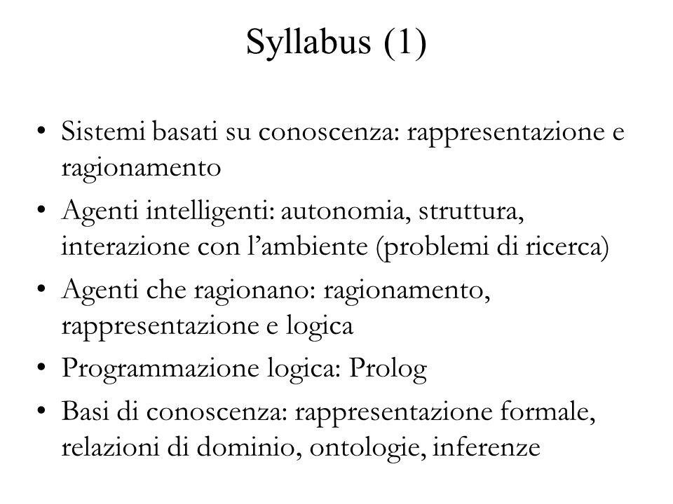 Syllabus (1) Sistemi basati su conoscenza: rappresentazione e ragionamento Agenti intelligenti: autonomia, struttura, interazione con l'ambiente (problemi di ricerca) Agenti che ragionano: ragionamento, rappresentazione e logica Programmazione logica: Prolog Basi di conoscenza: rappresentazione formale, relazioni di dominio, ontologie, inferenze