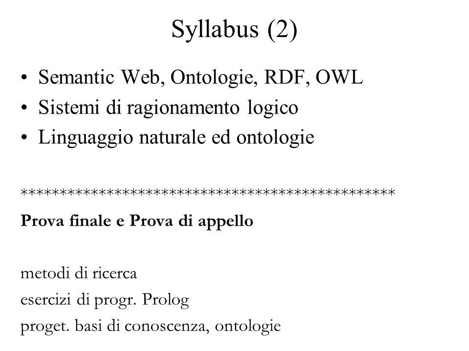 Syllabus (2) Semantic Web, Ontologie, RDF, OWL Sistemi di ragionamento logico Linguaggio naturale ed ontologie ************************************************ Prova finale e Prova di appello metodi di ricerca esercizi di progr.