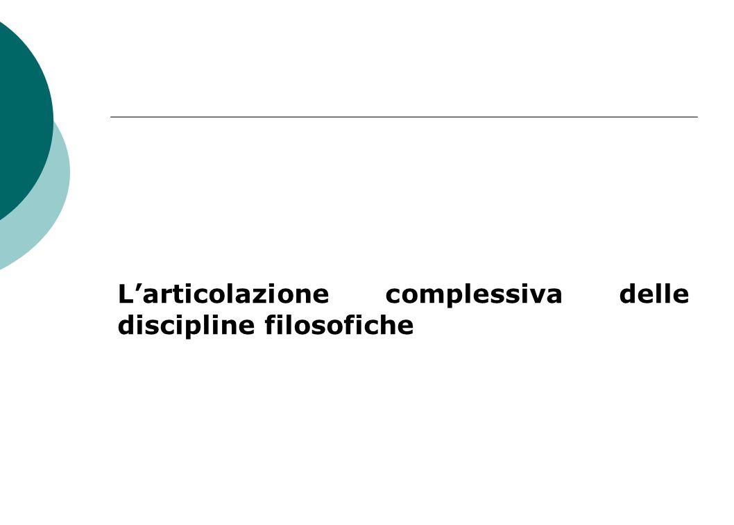 L'articolazione complessiva delle discipline filosofiche