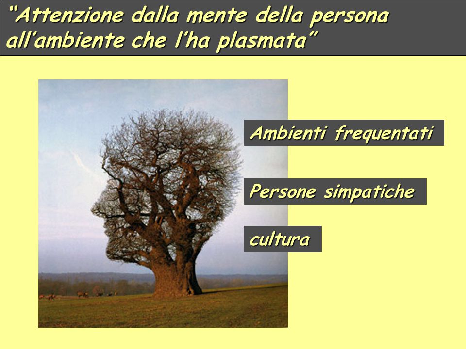 """""""Attenzione dalla mente della persona all'ambiente che l'ha plasmata"""" Persone simpatiche Ambienti frequentati cultura"""