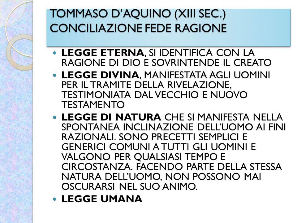 TOMMASO D'AQUINO (XIII SEC.) CONCILIAZIONE FEDE RAGIONE LEGGE ETERNA, SI IDENTIFICA CON LA RAGIONE DI DIO E SOVRINTENDE IL CREATO LEGGE DIVINA, MANIFE
