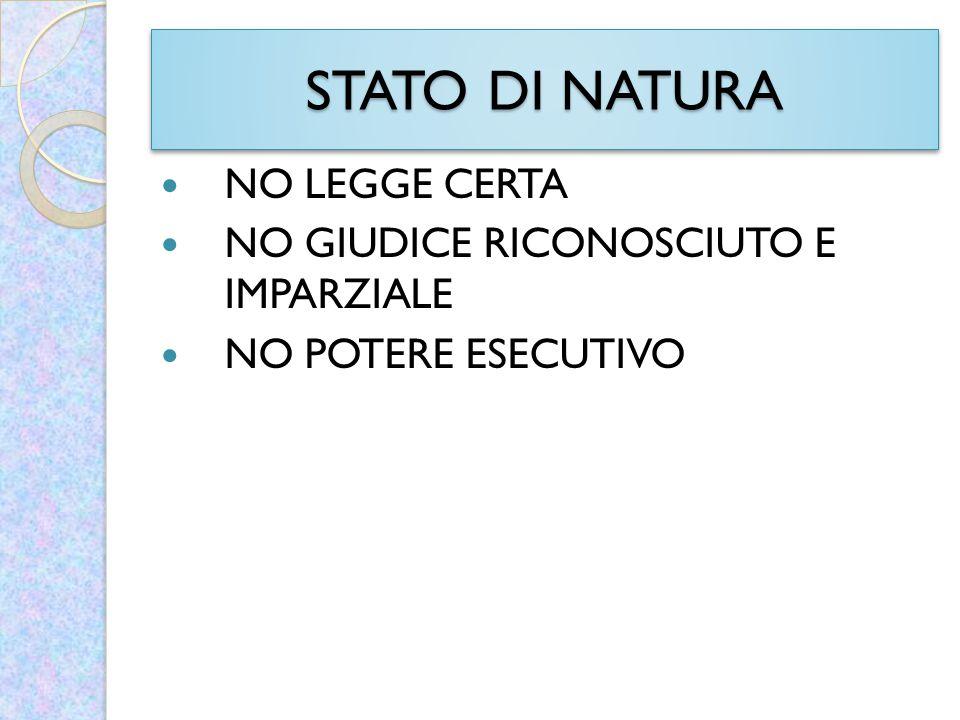 STATO DI NATURA NO LEGGE CERTA NO GIUDICE RICONOSCIUTO E IMPARZIALE NO POTERE ESECUTIVO