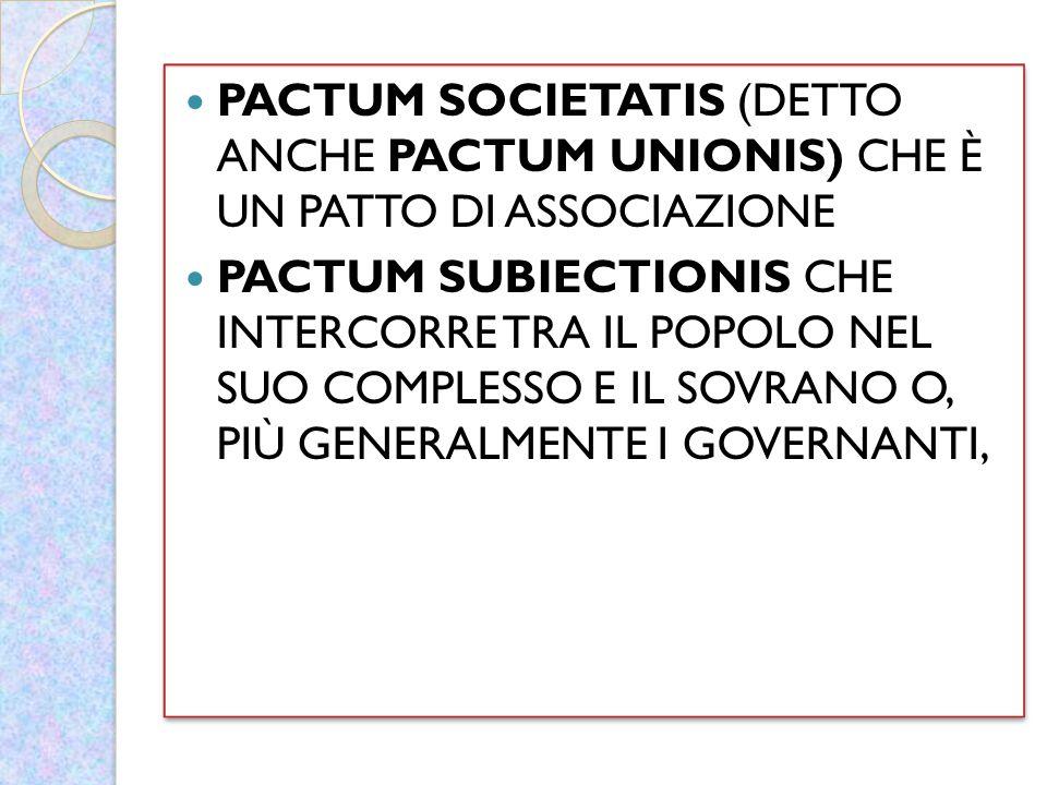 PACTUM SOCIETATIS (DETTO ANCHE PACTUM UNIONIS) CHE È UN PATTO DI ASSOCIAZIONE PACTUM SUBIECTIONIS CHE INTERCORRE TRA IL POPOLO NEL SUO COMPLESSO E IL