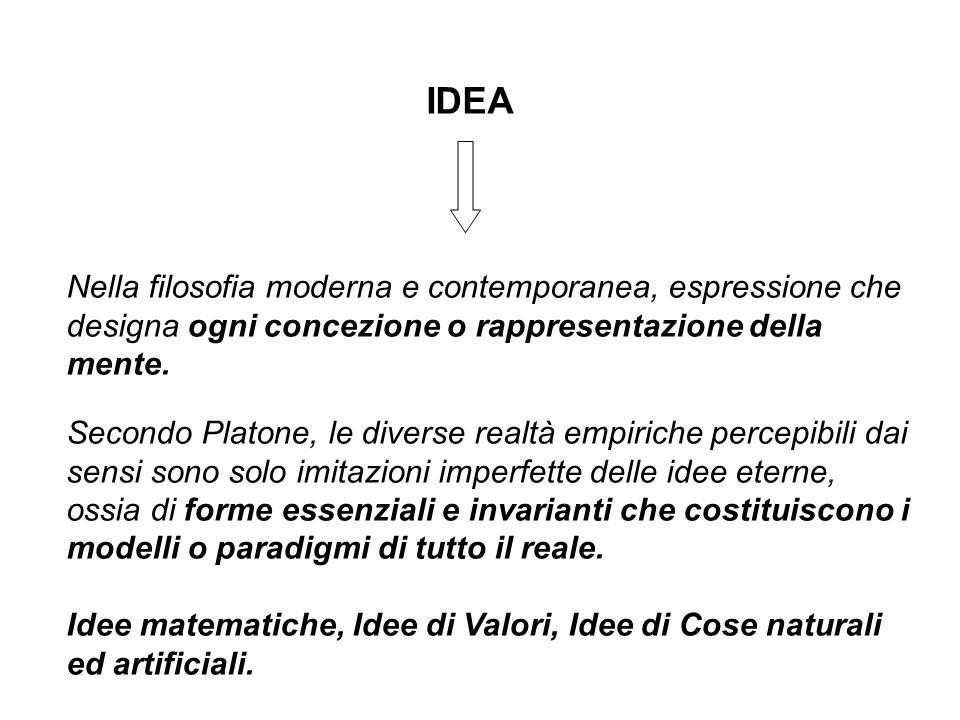 IDEA Nella filosofia moderna e contemporanea, espressione che designa ogni concezione o rappresentazione della mente. Secondo Platone, le diverse real