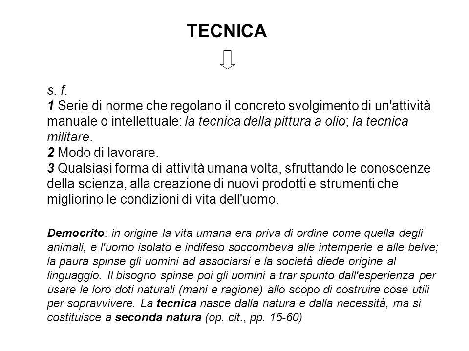 TECNICA s. f. 1 Serie di norme che regolano il concreto svolgimento di un'attività manuale o intellettuale: la tecnica della pittura a olio; la tecnic