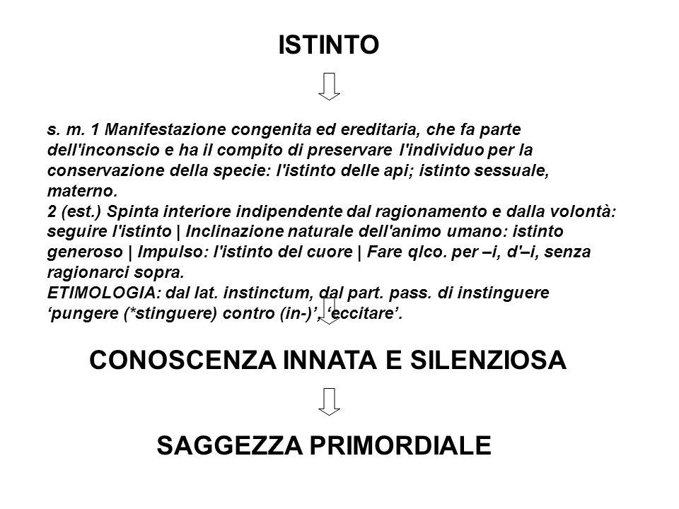 ISTINTO s. m. 1 Manifestazione congenita ed ereditaria, che fa parte dell'inconscio e ha il compito di preservare l'individuo per la conservazione del