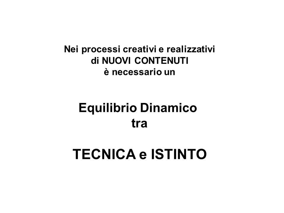 Nei processi creativi e realizzativi di NUOVI CONTENUTI è necessario un Equilibrio Dinamico tra TECNICA e ISTINTO