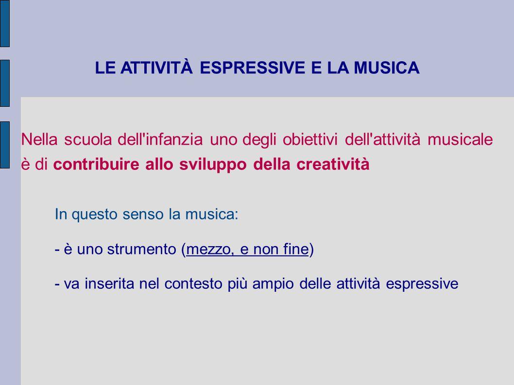 ATTIVITÀ ESPRESSIVA = ATTIVITÀ IN CUI IL BAMBINO ESPRIME UN ESPERIENZA, UN VISSUTO, UNA FANTASIA, UN IDEA DI FORTE VALENZA EMOZIONALE E AFFETTIVA ATTRAVERSO LA MANIPOLAZIONE CREATIVA E INTERATTIVA DI PIÙ LINGUAGGI: - CORPOREO (gesto, movimento, danza) - VERBALE (parola) - MUSICALE (sonorizzazioni o musiche codificate) - PITTORICO (disegni) - PLASTICO (costruzione di oggetti)
