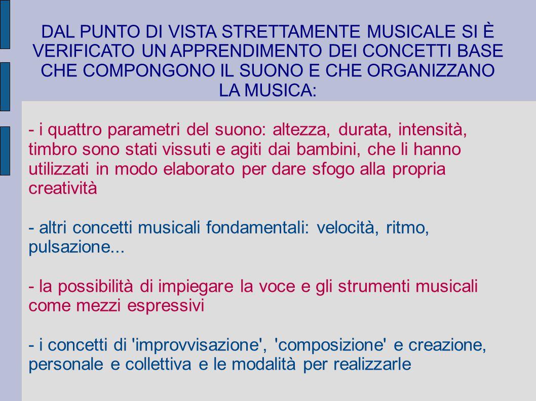 DAL PUNTO DI VISTA STRETTAMENTE MUSICALE SI È VERIFICATO UN APPRENDIMENTO DEI CONCETTI BASE CHE COMPONGONO IL SUONO E CHE ORGANIZZANO LA MUSICA: - i q