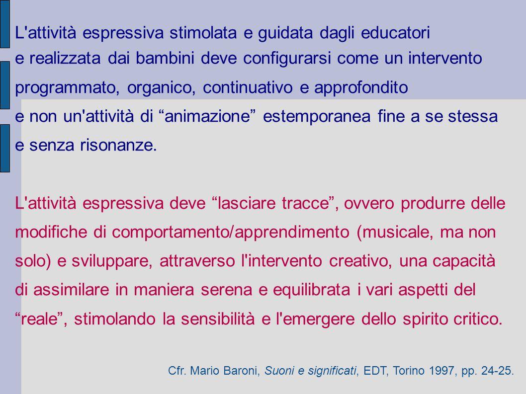 L'attività espressiva stimolata e guidata dagli educatori e realizzata dai bambini deve configurarsi come un intervento programmato, organico, continu