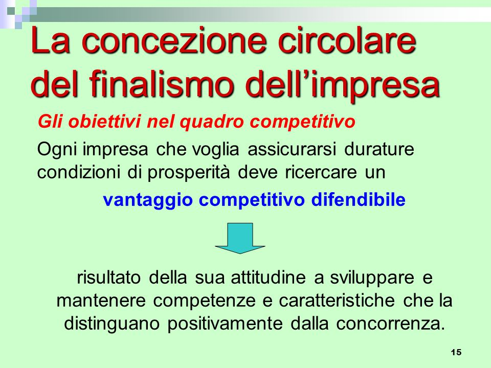 15 La concezione circolare del finalismo dell'impresa Gli obiettivi nel quadro competitivo Ogni impresa che voglia assicurarsi durature condizioni di