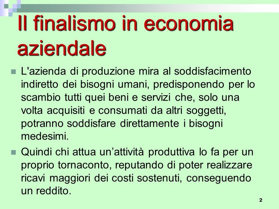 2 Il finalismo in economia aziendale L'azienda di produzione mira al soddisfacimento indiretto dei bisogni umani, predisponendo per lo scambio tutti q