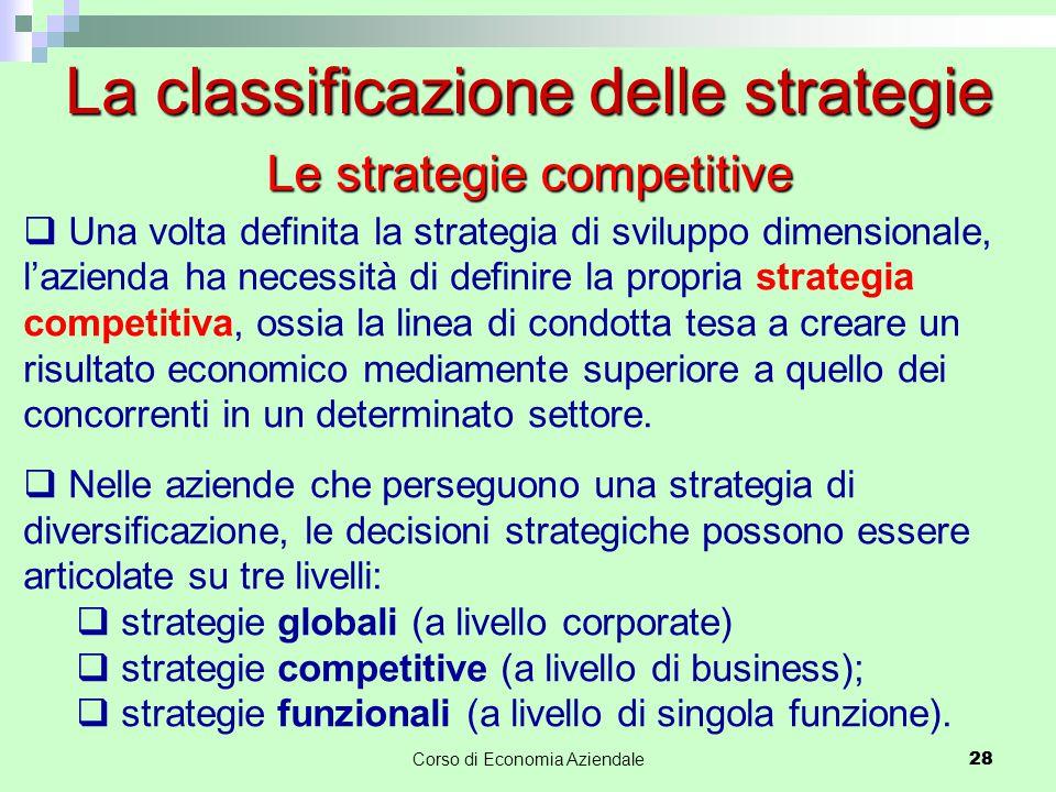28Corso di Economia Aziendale 28 La classificazione delle strategie  Una volta definita la strategia di sviluppo dimensionale, l'azienda ha necessità