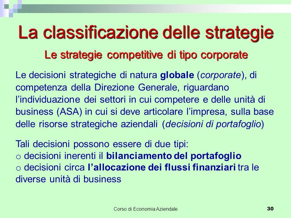 30Corso di Economia Aziendale 30 La classificazione delle strategie Le strategie competitive di tipo corporate Le decisioni strategiche di natura glob