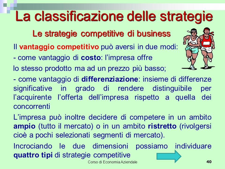 40 Il vantaggio competitivo può aversi in due modi: - come vantaggio di costo: l'impresa offre lo stesso prodotto ma ad un prezzo più basso; - come va