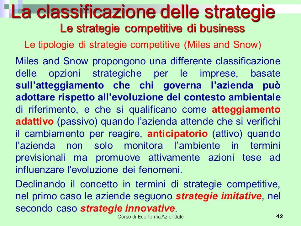 42 La classificazione delle strategie Le tipologie di strategie competitive (Miles and Snow) Miles and Snow propongono una differente classificazione