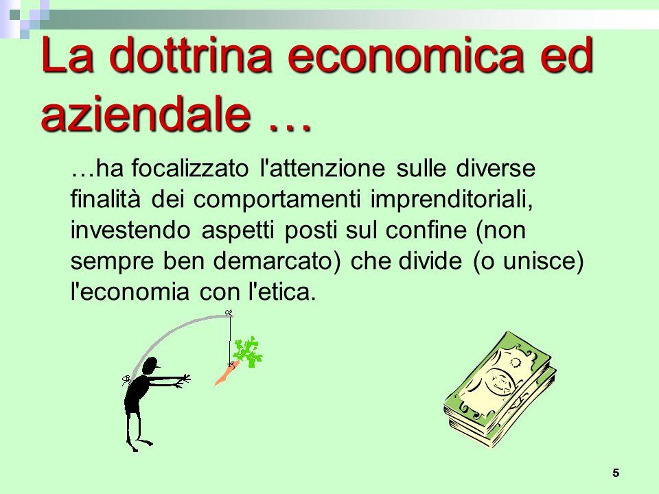 5 La dottrina economica ed aziendale … …ha focalizzato l'attenzione sulle diverse finalità dei comportamenti imprenditoriali, investendo aspetti posti