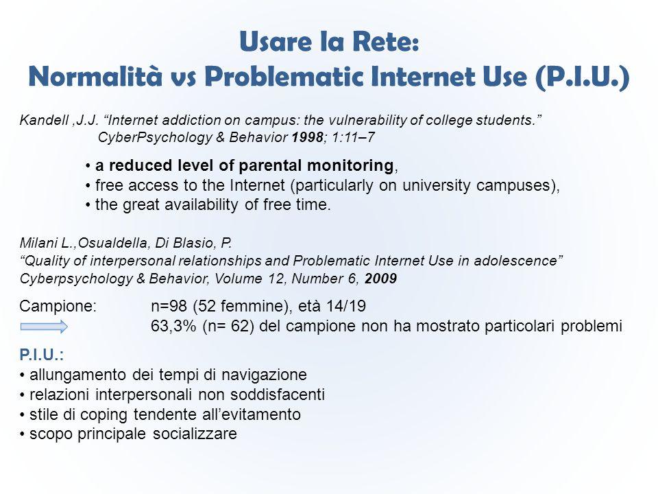 """Usare la Rete: Normalità vs Problematic Internet Use (P.I.U.) Kandell,J.J. """"Internet addiction on campus: the vulnerability of college students."""" Cybe"""