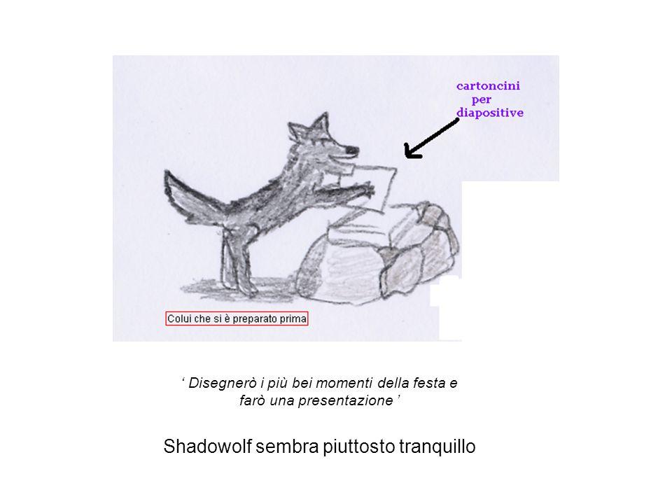 ' Disegnerò i più bei momenti della festa e farò una presentazione ' Shadowolf sembra piuttosto tranquillo
