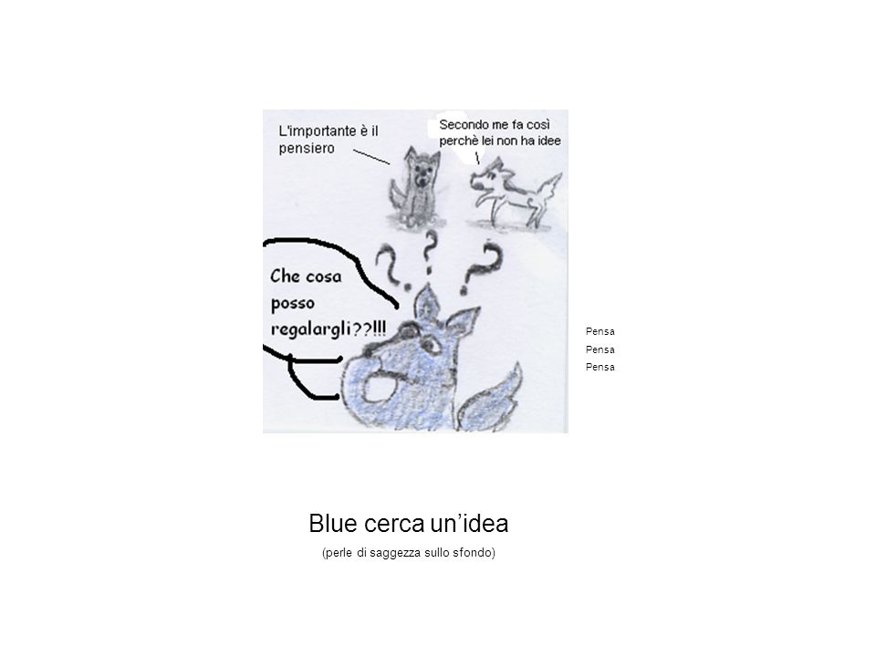 Blue cerca un'idea (perle di saggezza sullo sfondo) Pensa