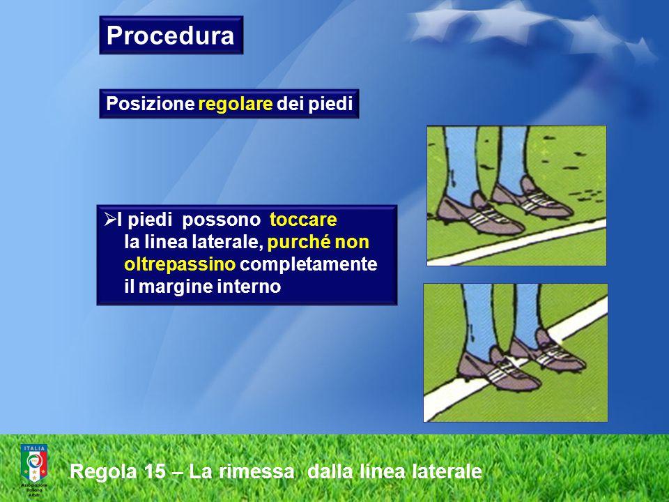 Regola 15 – La rimessa dalla linea laterale Posizione regolare dei piedi  I piedi possono toccare la linea laterale, purché non oltrepassino completa