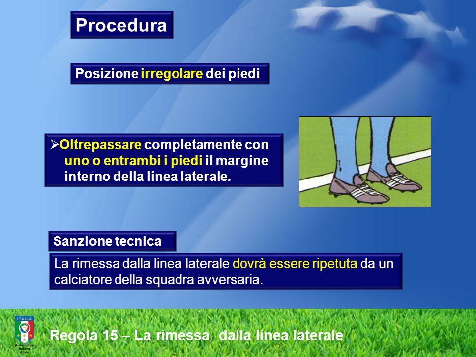 Regola 15 – La rimessa dalla linea laterale  Oltrepassare completamente con uno o entrambi i piedi il margine interno della linea laterale. Sanzione
