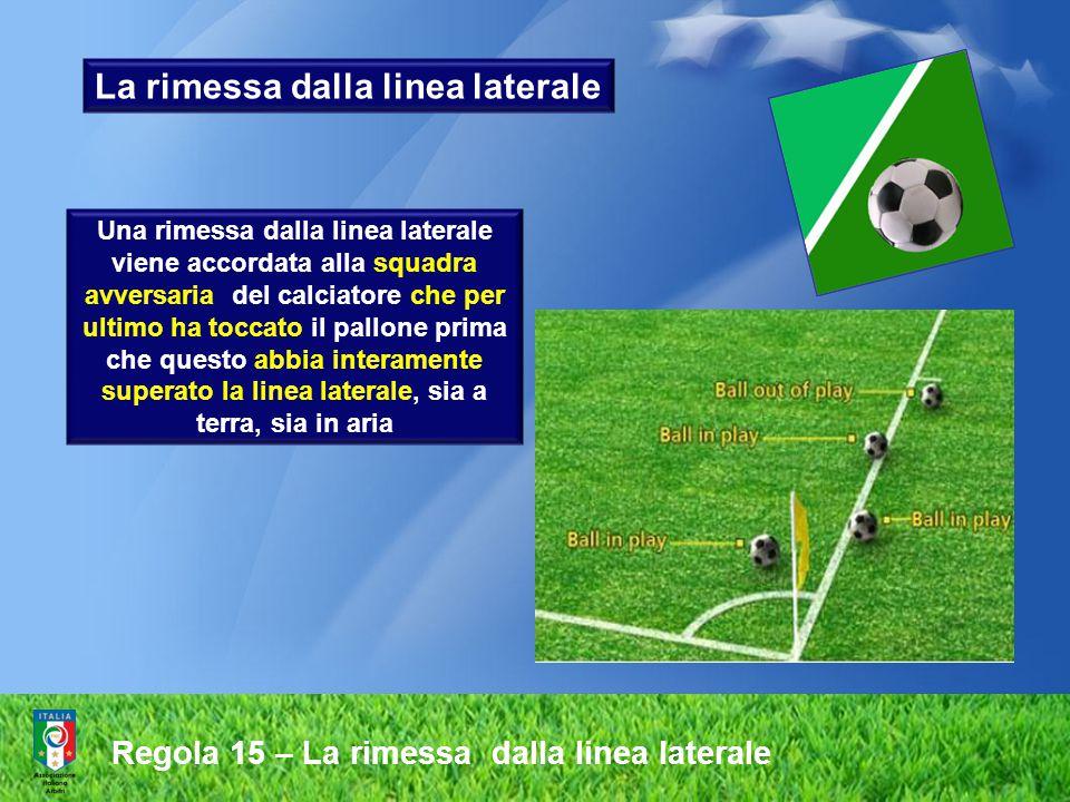 Regola 15 – La rimessa dalla linea laterale Procedura Al momento di lanciare il pallone, il calciatore incaricato deve:  fare fronte al terreno di gioco  avere, almeno parzialmente, i due piedi sulla linea laterale o all'esterno di questa