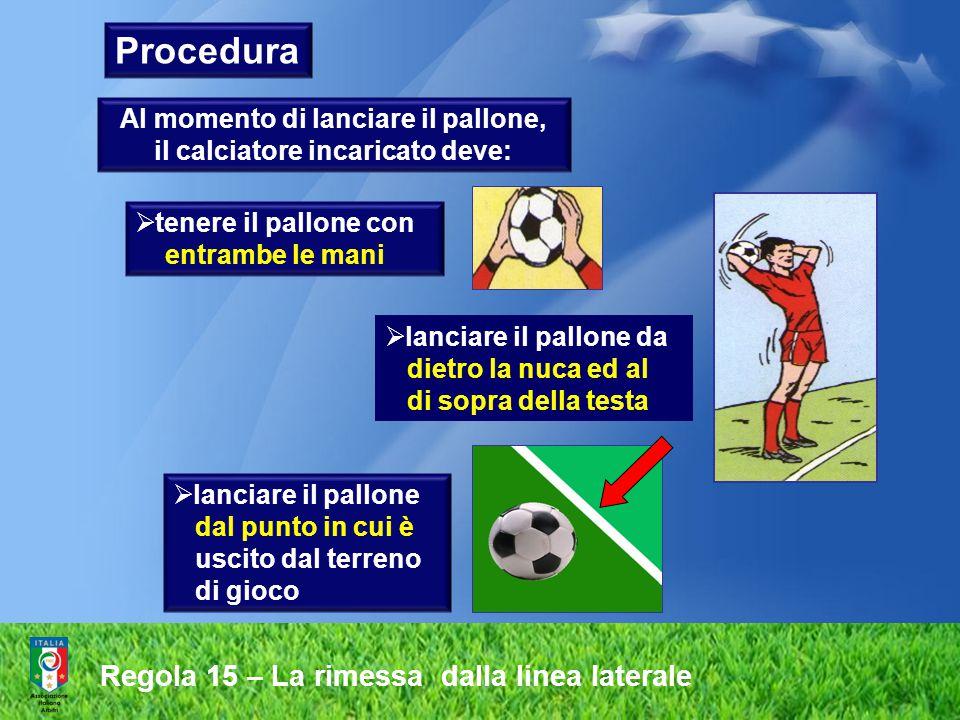 Regola 15 – La rimessa dalla linea laterale Procedura  tenere il pallone con entrambe le mani  lanciare il pallone da dietro la nuca ed al di sopra