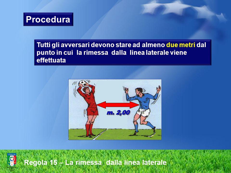 Regola 15 – La rimessa dalla linea laterale  il pallone è in gioco nell'istante in cui entra sul terreno di gioco  il calciatore che ha eseguito la rimessa non deve toccare di nuovo il pallone prima che lo stesso sia stato toccato da un altro calciatore.