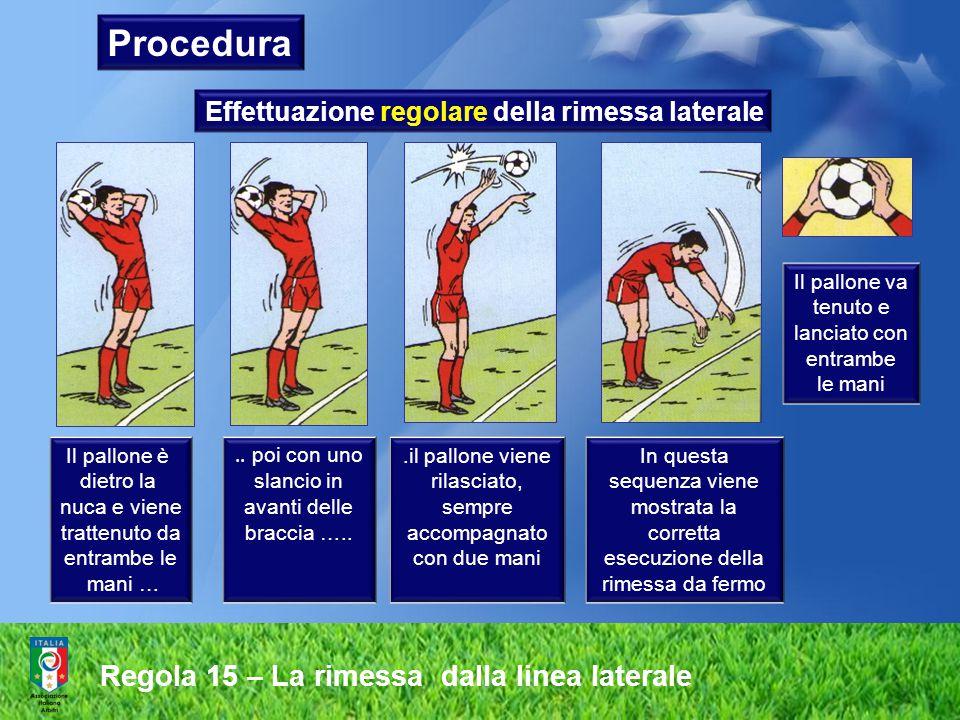 Regola 15 – La rimessa dalla linea laterale E' ammessa anche l'esecuzione della rimessa laterale con ricorsa Effettuazione regolare della rimessa laterale Procedura