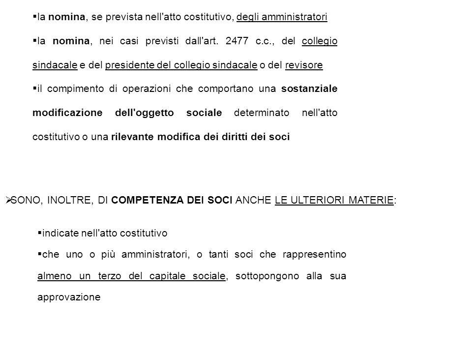  la nomina, se prevista nell'atto costitutivo, degli amministratori  la nomina, nei casi previsti dall'art. 2477 c.c., del collegio sindacale e del