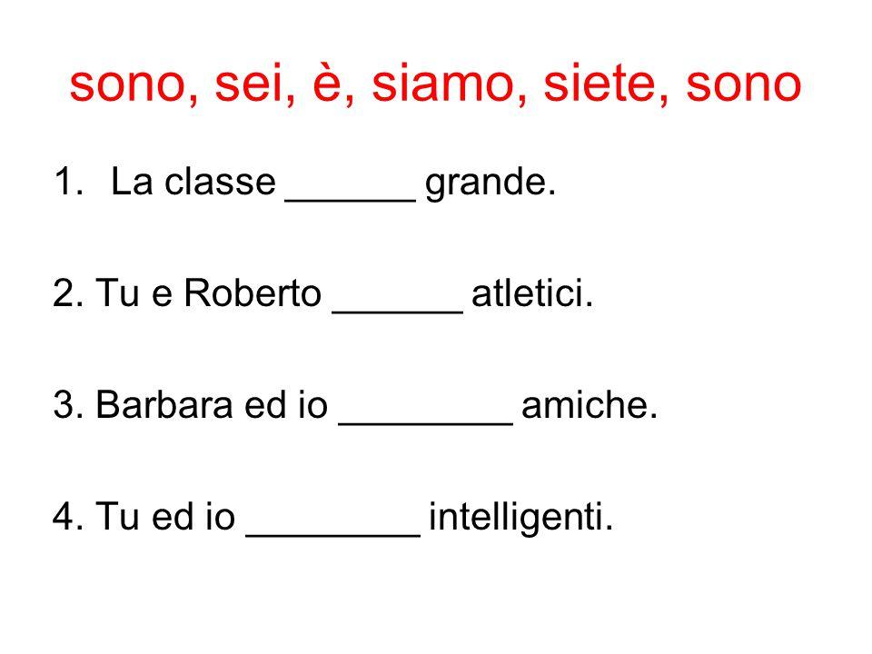 sono, sei, è, siamo, siete, sono 1.La classe ______ grande. 2. Tu e Roberto ______ atletici. 3. Barbara ed io ________ amiche. 4. Tu ed io ________ in